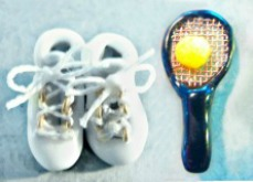 TENNIS SHOES and RACKET set of 2 Black Glass Realistic Buttons