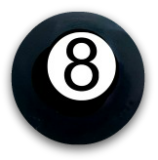 "Diminutive ""8 Ball"" Black Glass Button"