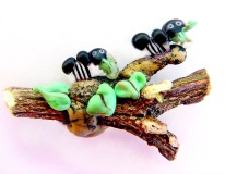 ANTS Eating Leaves on a WOOD Branch - 3D Acid Etched Glass & WOOD - LAST ONE!