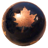 Hand BLOWN Black Glass Button with Gold Foil Decorative Finish