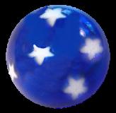 "Hand BLOWN Glass Transparent Blue Button ""Patriotic STARS"""