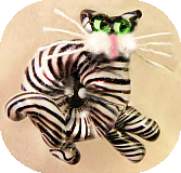 Tabby CAT Black Glass WHISTLE Paperweight Button