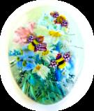 HoneyBEEs in the Garden - 3D Glass Paperweight Button Scene
