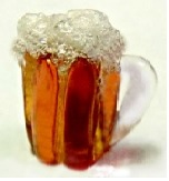 Beer Mug Realistic Button - Amber Glass with Frothy Foam
