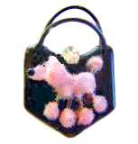 Pink Poodle PURSE  Flocked Glass w/Rubber Handle Choice of Turquoise or Black Glass