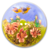 WHISTLE Blue Birds Flying Over the Garden Glass PW Button