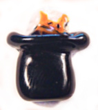 CAT in the HAT Realistic Black Glass Button