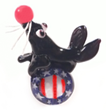 Circus SEAL on a Patriotic Stars & Strips PW Ball - Realistic Black Glass Button
