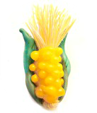 Corn Cob Realistic 3D Glass Button with Moveable Thread Corn Silk
