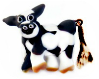 DAIRY COW (Holstein) with Moveable Tail BLACK Glass Acid Etched Realistic Button