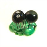 Diminutive ANT on a Leaf Realistic Green Glass Button