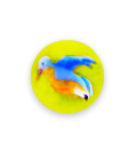 Diminutive BLUE BIRD Yellow Glass Paperweight Button