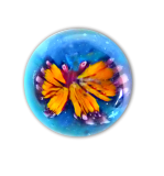 Diminutive BUTTERFLY Glass Paperweight Button