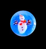 Diminutive SNOWMAN Glass Paperweight Button