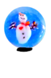 Diminutive SNOWMAN Snowglobe (object) Glass Paperweight Button