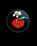 Dimi Strawberry w/Blossom on Black Glass PW Button