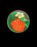 Diminutive STRAWBERRY w/Blossom - Black or Green Glass PW Button