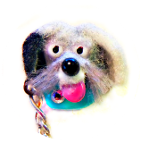 DOG on a Moveable Chain Leash w/1 Paste Realistic Flocked Glass Button
