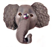 Circus ELEPHANT Moveable GRAY Glass Acid-Etched Button with faux Leather Ears