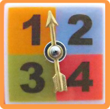 Game SPINNER - Moveable Metal on Verbal SQUARE Fused Glass button