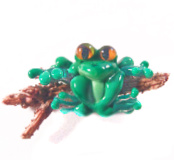 Frog on a Wood Log Green Glass & Wood Lampworked Button