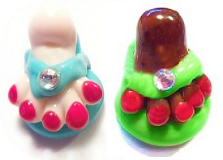 FOOT in a Flip-Flop w/Paste Realistic Glass Button 3 Colors