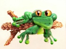Frog on a Wood Log Glass & Wood Lampworked Button
