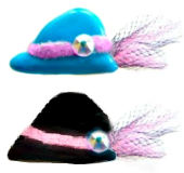 HAT - Glass Button with Tulle Fabric, Pink Flocked Band & Rhinestone (paste) 2 Color Choices
