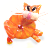 Tabby CAT Orange Glass WHISTLE Paperweight Button