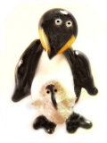 PENGUIN w/CHICK (Flocked)  Realistic Black Glass Lampworked Button