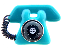 Retro PHONE Moveable & Verbal Fused Glass Button with OME's 3 Color Choices