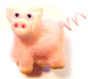 PIGLET Flocked Pink Glass Button w/spiral wire tail (ome)