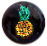 Pineapple - Black Glass Paperweight Button