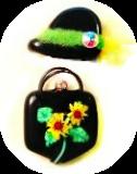 "Hat & Purse SET ""Sunflowers"" (2) Black Glass Buttons"
