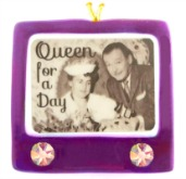 "TV ""Queen for a Day"" Retro Design Royal Purple Fused Glass Photo Decal Button"