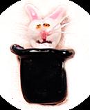 RABBIT in the Hat MAGIC TRICK Realistic Black Glass Button