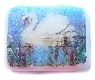 Coralene SWAN on a Lake w/Cattails Fused WHITE Glass Button