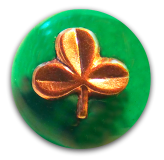 Impressed Metal SHAMROCK in/on Transparent Green Glass Button