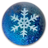 Snowflake PW Button on Blue Dichroic Glass
