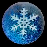 Snowflake PW Button on Blue Dichroic Glass
