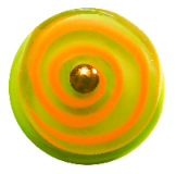Orange Glass SPIRAL Spinning on Green Glass Base