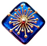 MOVEABLE Brass STARBURST Spinning on Black Dichroic Square Glass Button