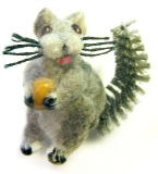 SQUIRREL with a Nut - Realistic Flocked Gray Glass w/bushy Brush Tail