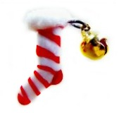 Holiday STOCKING - Glass-Metal-Flocking and Moveable Brass Jingle Bell