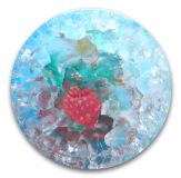 CRACKLE Glass Strawberries Paperweight Button