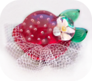 STRAWBERRY HAT - Red Glass w/Tulle Fabric Veil (OME)